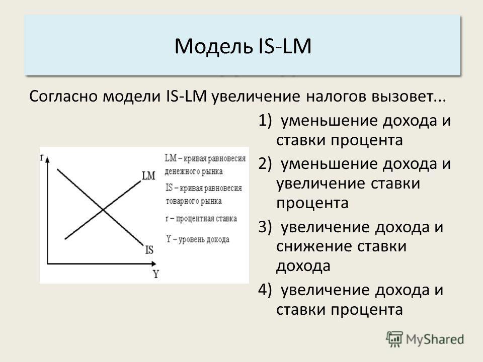 Основные характеристики системы: 3. Структура. Модель IS-LM Согласно модели IS-LM увеличение налогов вызовет... 1) уменьшение дохода и ставки процента 2) уменьшение дохода и увеличение ставки процента 3) увеличение дохода и снижение ставки дохода 4)