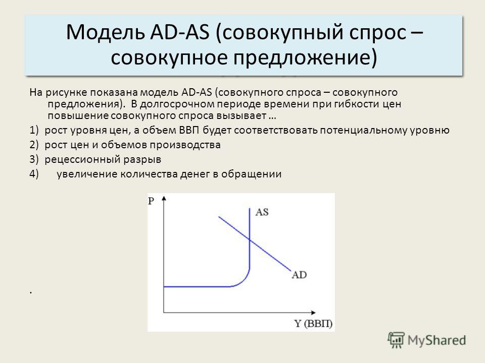 Основные характеристики системы: 3. Структура. Модель AD-AS (совокупный спрос – совокупное предложение) На рисунке показана модель AD-AS (совокупного спроса – совокупного предложения). В долгосрочном периоде времени при гибкости цен повышение совокуп