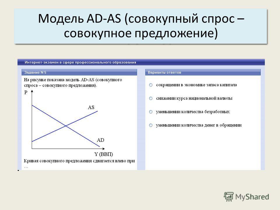 Основные характеристики системы: 3. Структура. Модель AD-AS (совокупный спрос – совокупное предложение).