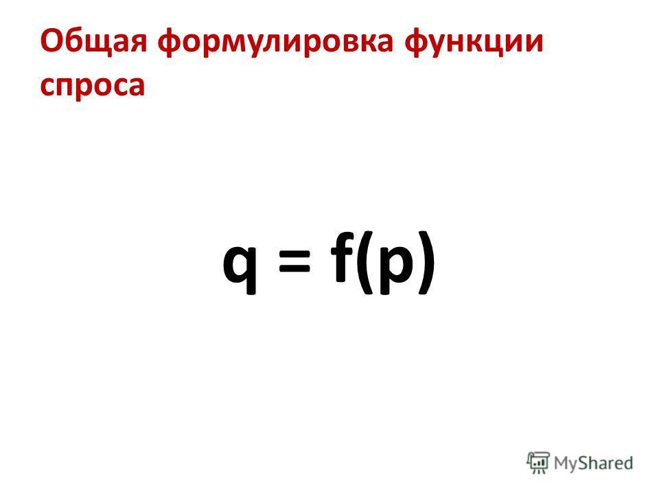 Общая формулировка функции спроса q = f(p)