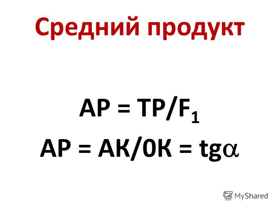 Средний продукт АР = ТР/F 1 АР = АК/0К = tg