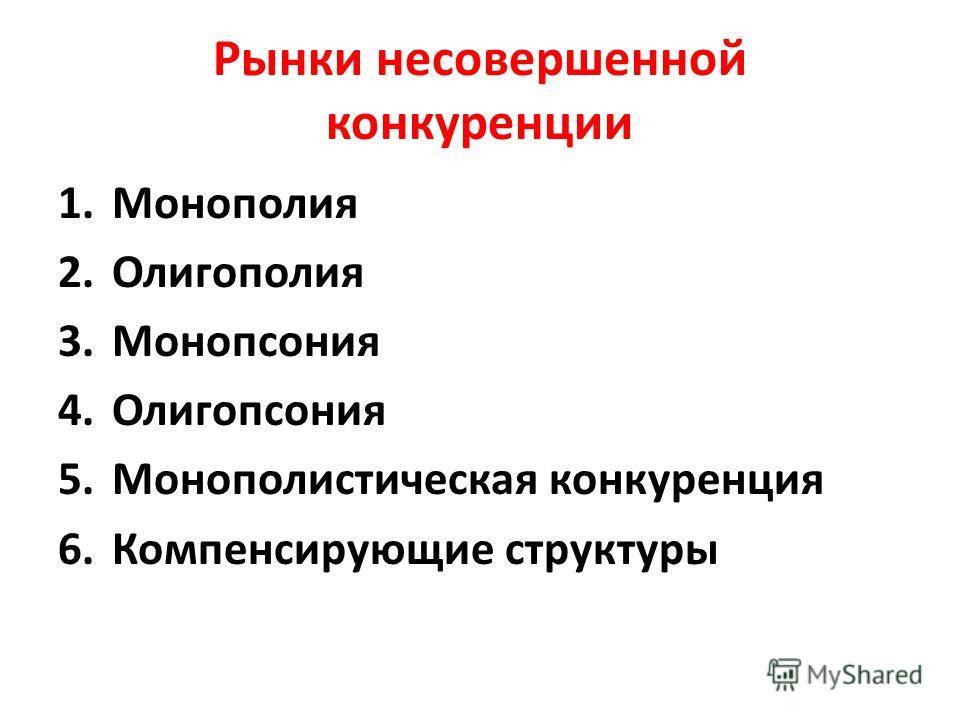 Рынки несовершенной конкуренции 1.Монополия 2.Олигополия 3.Монопсония 4.Олигопсония 5.Монополистическая конкуренция 6.Компенсирующие структуры