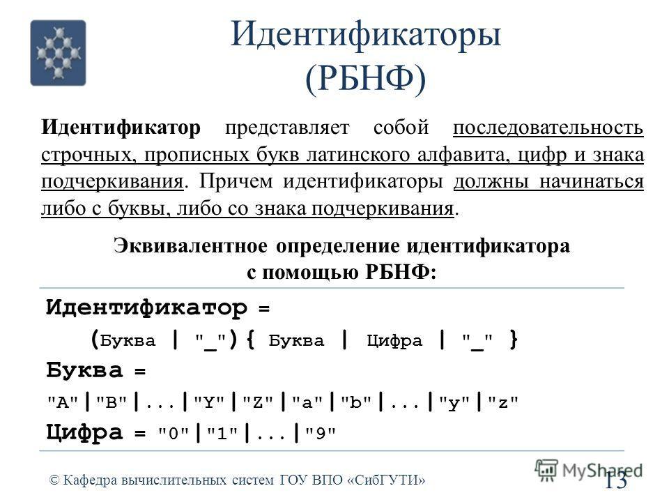 Идентификаторы (РБНФ) 13 © Кафедра вычислительных систем ГОУ ВПО «СибГУТИ» Идентификатор = ( Буква |