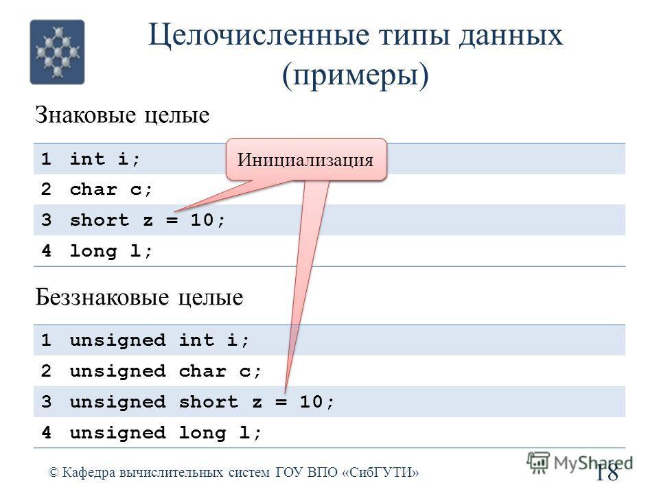 1int i; 2char c; 3short z = 10; 4long l; Целочисленные типы данных (примеры) 18 © Кафедра вычислительных систем ГОУ ВПО «СибГУТИ» Знаковые целые Беззнаковые целые 1unsigned int i; 2unsigned char c; 3unsigned short z = 10; 4unsigned long l; Инициализа
