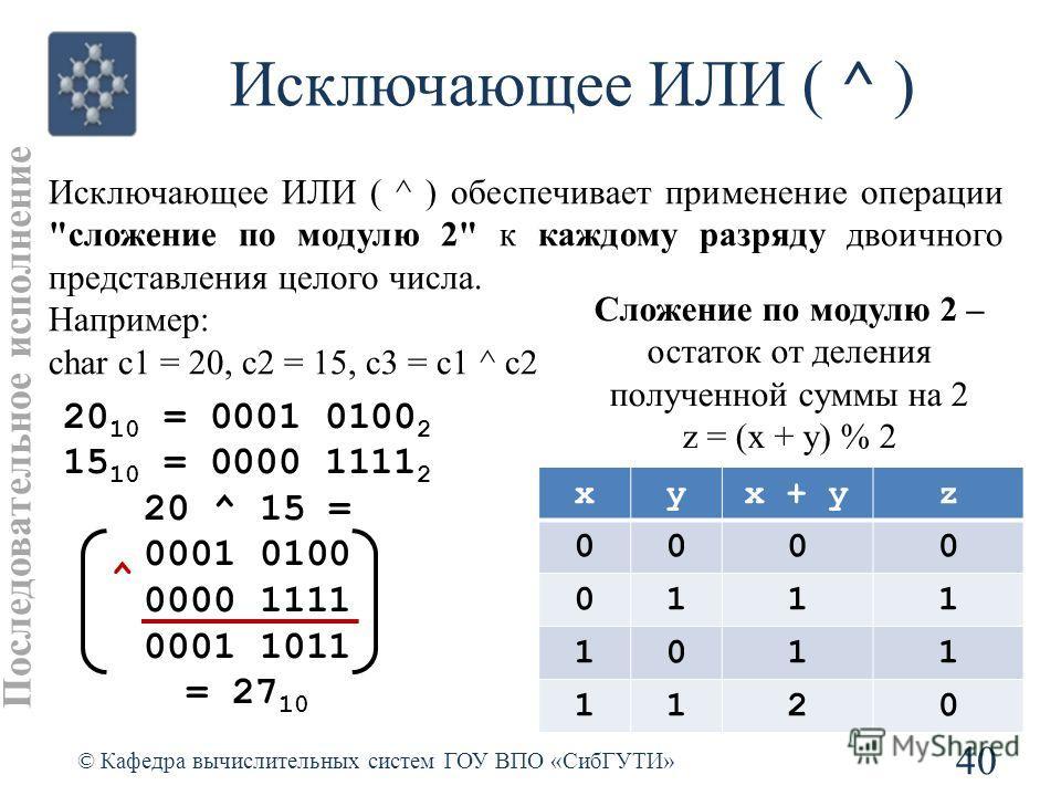 Исключающее ИЛИ ( ^ ) 40 © Кафедра вычислительных систем ГОУ ВПО «СибГУТИ» Исключающее ИЛИ ( ^ ) обеспечивает применение операции