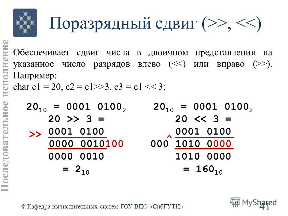 Поразрядный сдвиг (>>, >3, c3 = c1 > 3 = 0001 0100 0000 0010100 0000 0010 = 2 10 >> 20 10 = 0001 0100 2 20