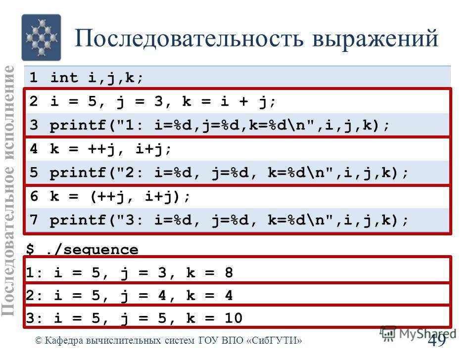 Последовательность выражений 49 © Кафедра вычислительных систем ГОУ ВПО «СибГУТИ» 1int i,j,k; 2i = 5, j = 3, k = i + j; 3printf(