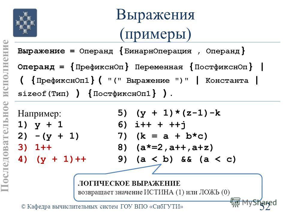 Выражения (примеры) 52 © Кафедра вычислительных систем ГОУ ВПО «СибГУТИ» Последовательное исполнение Выражение = Операнд { БинарнОперация, Операнд } Операнд = { ПрефикснОп } Переменная { ПостфикснОп } | ( { ПрефикснОп1 }(