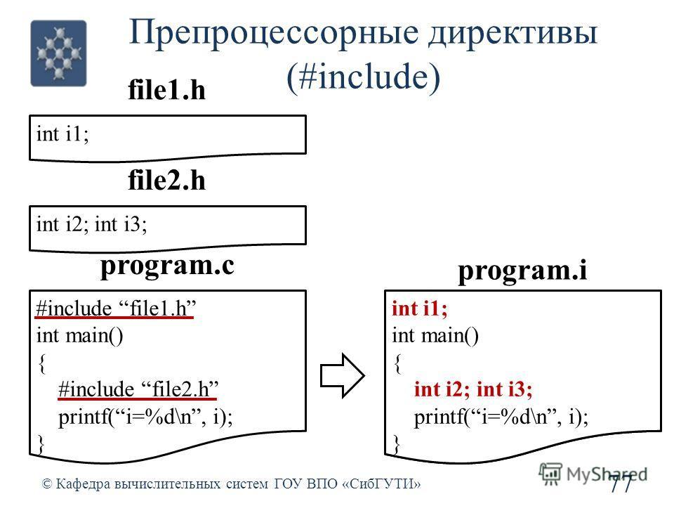 #include file1.h int main() { #include file2.h printf(i=%d\n, i); } int i1; int main() { int i2; int i3; printf(i=%d\n, i); } Препроцессорные директивы (#include) 77 © Кафедра вычислительных систем ГОУ ВПО «СибГУТИ» #include file1.h int main() { #inc