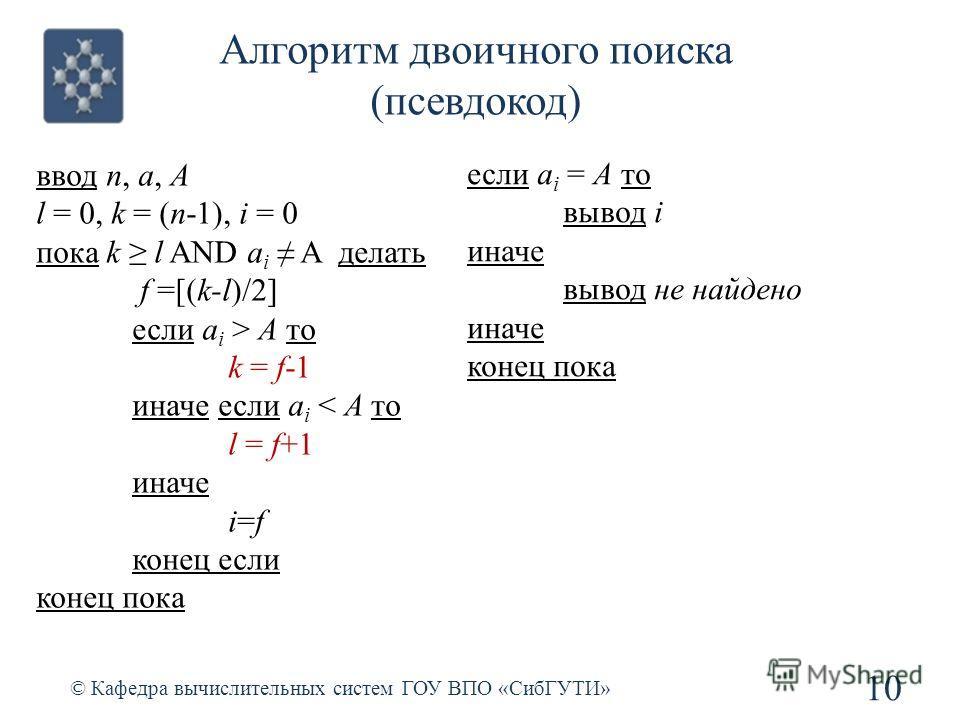 Алгоритм двоичного поиска (псевдокод) 10 © Кафедра вычислительных систем ГОУ ВПО «СибГУТИ» ввод n, a, A l = 0, k = (n-1), i = 0 пока k l AND a i A делать f =[(k-l)/2] если a i > A то k = f-1 иначе если a i < A то l = f+1 иначе i=f конец если конец по
