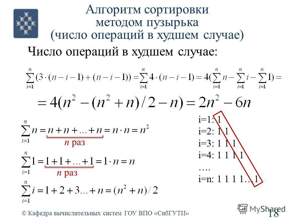 Алгоритм сортировки методом пузырька (число операций в худшем случае) 18 © Кафедра вычислительных систем ГОУ ВПО «СибГУТИ» Число операций в худшем случае: n раз i=1: 1 i=2: 1 1 i=3: 1 1 1 i=4: 1 1 1 1 …. i=n: 1 1 1 1…1