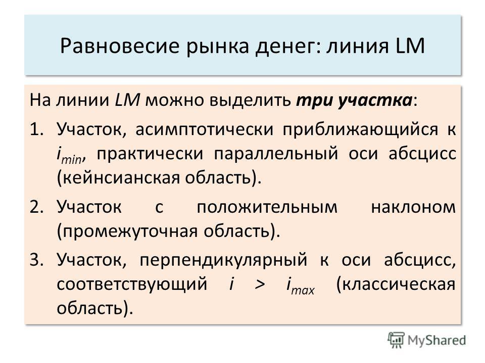 Равновесие рынка денег: линия LM На линии LM можно выделить три участка: 1.Участок, асимптотически приближающийся к i min, практически параллельный оси абсцисс (кейнсианская область). 2.Участок с положительным наклоном (промежуточная область). 3.Учас