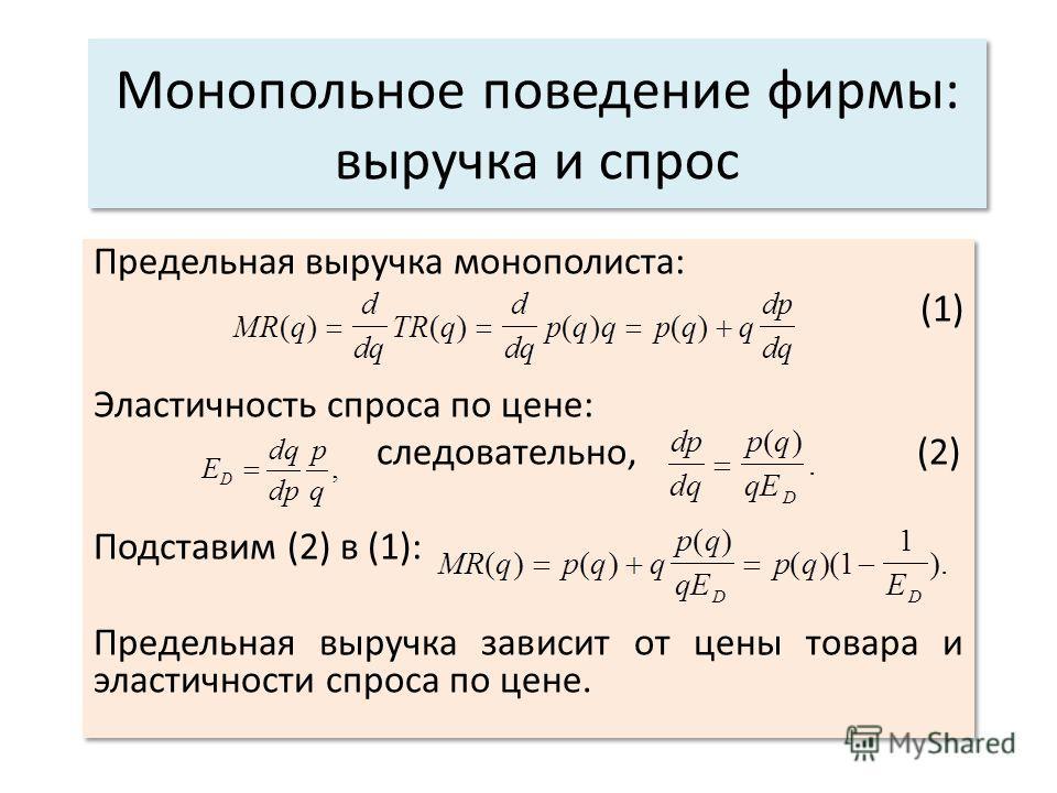 Монопольное поведение фирмы: выручка и спрос Предельная выручка монополиста: (1) Эластичность спроса по цене: следовательно, (2) Подставим (2) в (1): Предельная выручка зависит от цены товара и эластичности спроса по цене. Предельная выручка монополи