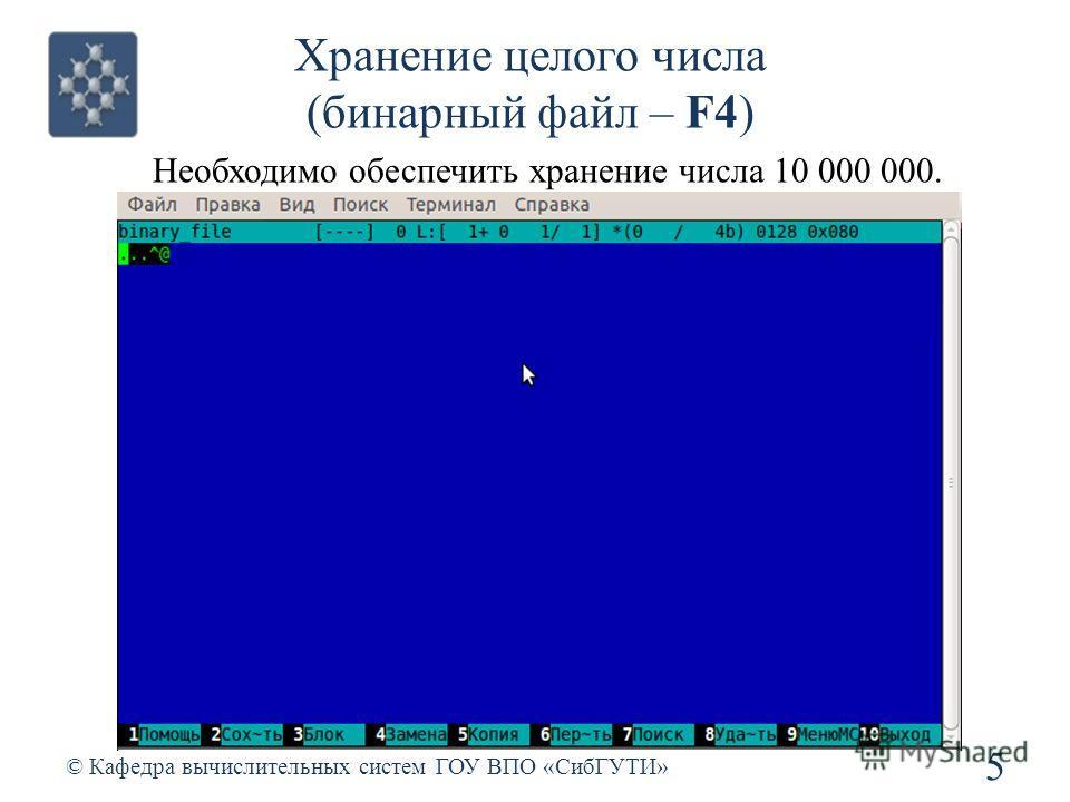 Хранение целого числа (бинарный файл – F4) 5 © Кафедра вычислительных систем ГОУ ВПО «СибГУТИ» Необходимо обеспечить хранение числа 10 000 000.