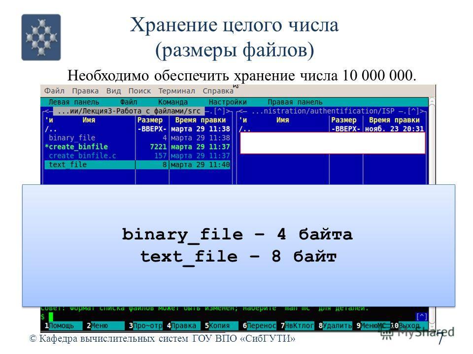 Хранение целого числа (размеры файлов) 7 © Кафедра вычислительных систем ГОУ ВПО «СибГУТИ» Необходимо обеспечить хранение числа 10 000 000. binary_file – 4 байта text_file – 8 байт binary_file – 4 байта text_file – 8 байт