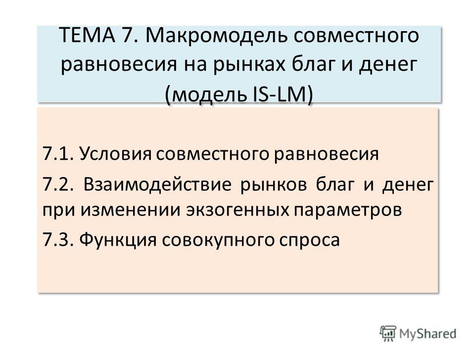 ТЕМА 7. Макромодель совместного равновесия на рынках благ и денег (модель IS-LM) 7.1. Условия совместного равновесия 7.2. Взаимодействие рынков благ и денег при изменении экзогенных параметров 7.3. Функция совокупного спроса 7.1. Условия совместного