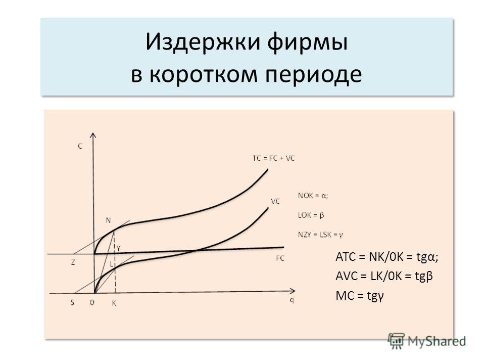 Издержки фирмы в коротком периоде АТС = NK/0K = tgα; AVC = LK/0K = tgβ MC = tgγ АТС = NK/0K = tgα; AVC = LK/0K = tgβ MC = tgγ