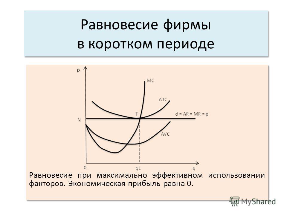 Равновесие при максимально эффективном использовании факторов. Экономическая прибыль равна 0.