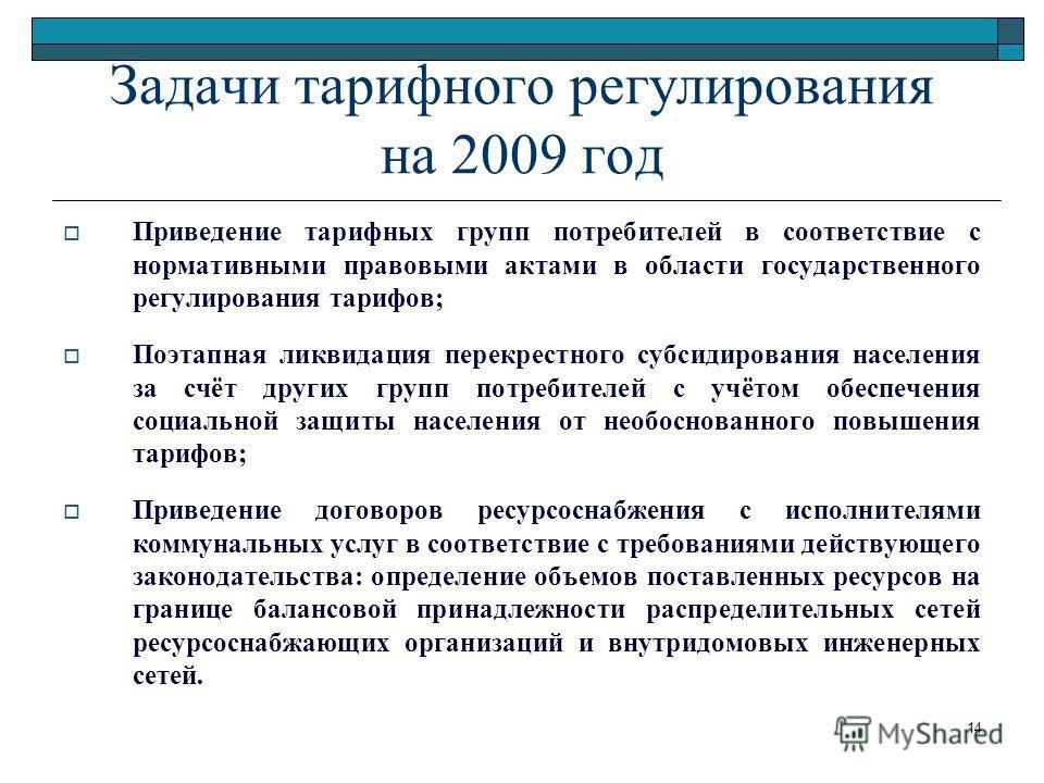 14 Задачи тарифного регулирования на 2009 год Приведение тарифных групп потребителей в соответствие с нормативными правовыми актами в области государственного регулирования тарифов; Поэтапная ликвидация перекрестного субсидирования населения за счёт