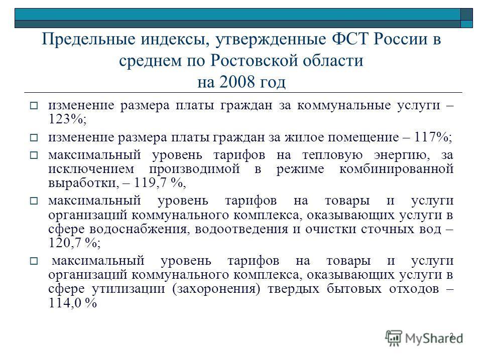 2 Предельные индексы, утвержденные ФСТ России в среднем по Ростовской области на 2008 год изменение размера платы граждан за коммунальные услуги – 123%; изменение размера платы граждан за жилое помещение – 117%; максимальный уровень тарифов на теплов