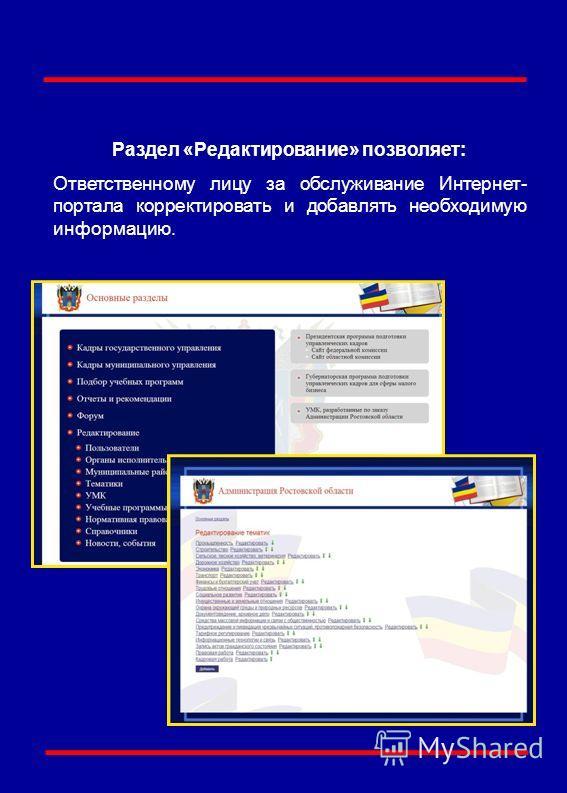 Раздел «Редактирование» позволяет: Ответственному лицу за обслуживание Интернет- портала корректировать и добавлять необходимую информацию.