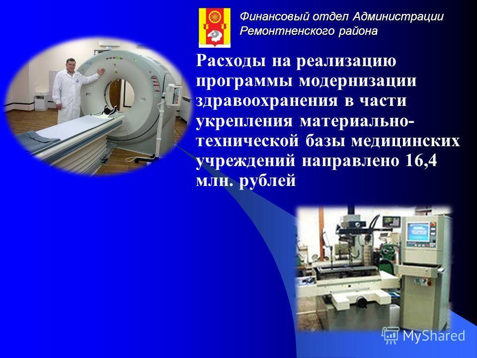 Финансовый отдел Администрации Ремонтненского района Расходы на реализацию программы модернизации здравоохранения в части укрепления материально- технической базы медицинских учреждений направлено 16,4 млн. рублей