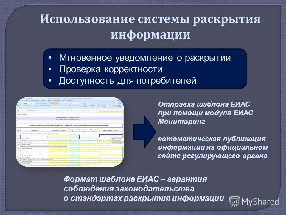 Отправка шаблона ЕИАС при помощи модуля ЕИАС Мониторинг автоматическая публикация информации на официальном сайте регулирующего органа Формат шаблона ЕИАС – гарантия соблюдения законодательства о стандартах раскрытия информации Использование системы