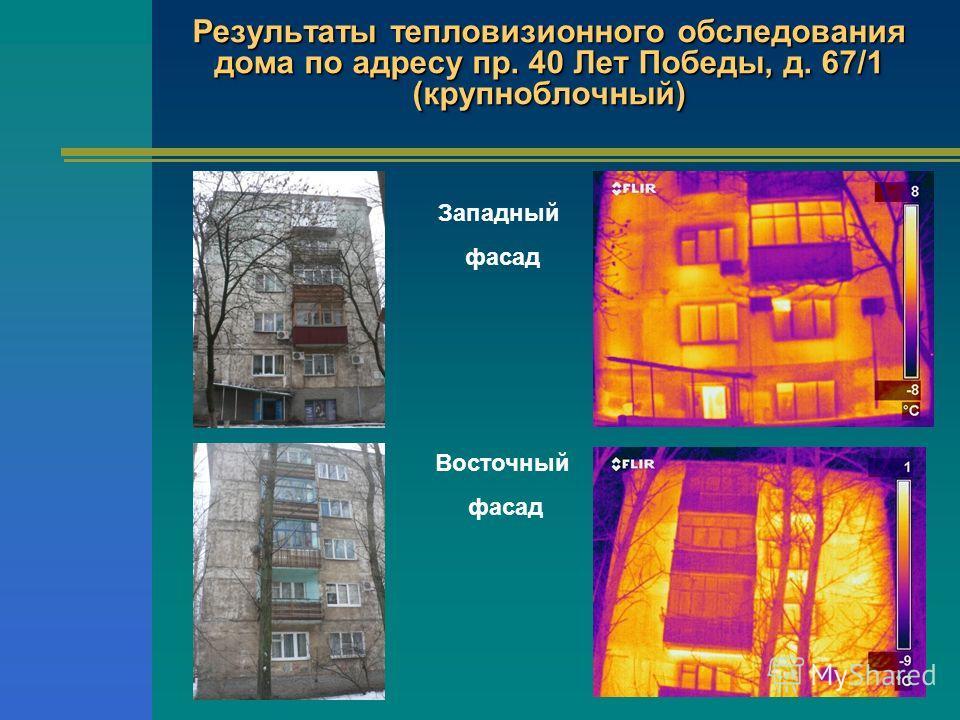 Результаты тепловизионного обследования дома по адресу пр. 40 Лет Победы, д. 67/1 (крупноблочный) Восточный фасад Западный фасад