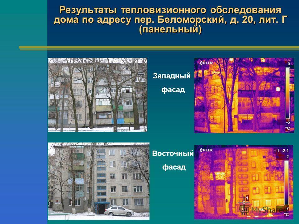 Результаты тепловизионного обследования дома по адресу пер. Беломорский, д. 20, лит. Г (панельный) Восточный фасад Западный фасад