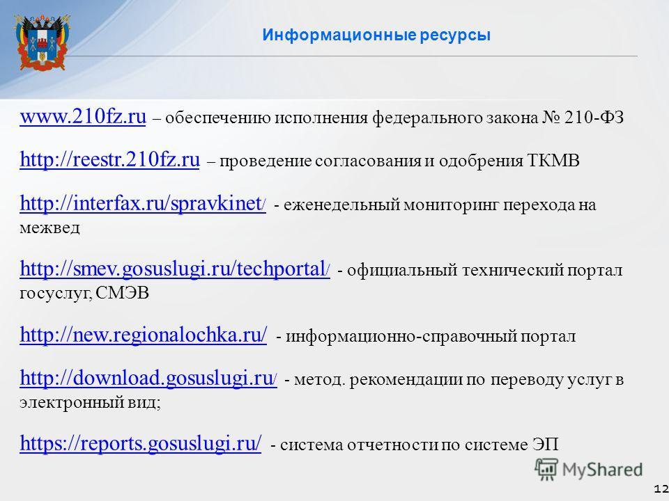Информационные ресурсы 12 www.210fz.ruwww.210fz.ru – обеспечению исполнения федерального закона 210-ФЗ http://reestr.210fz.ruhttp://reestr.210fz.ru – проведение согласования и одобрения ТКМВ http://interfax.ru/spravkinet /http://interfax.ru/spravkine
