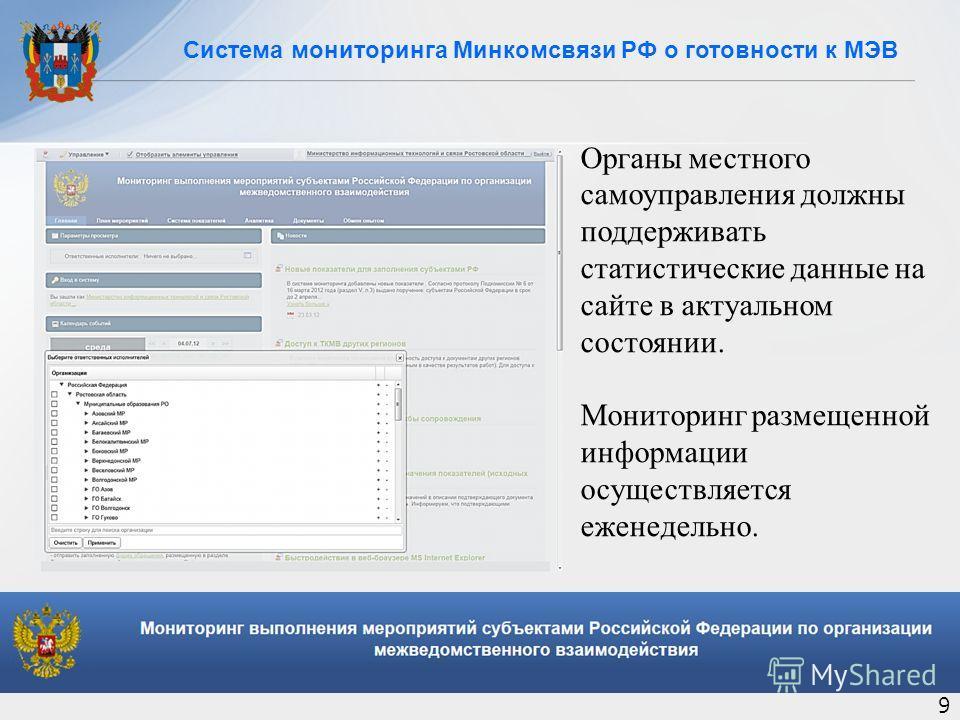 Система мониторинга Минкомсвязи РФ о готовности к МЭВ 9 Органы местного самоуправления должны поддерживать статистические данные на сайте в актуальном состоянии. Мониторинг размещенной информации осуществляется еженедельно.