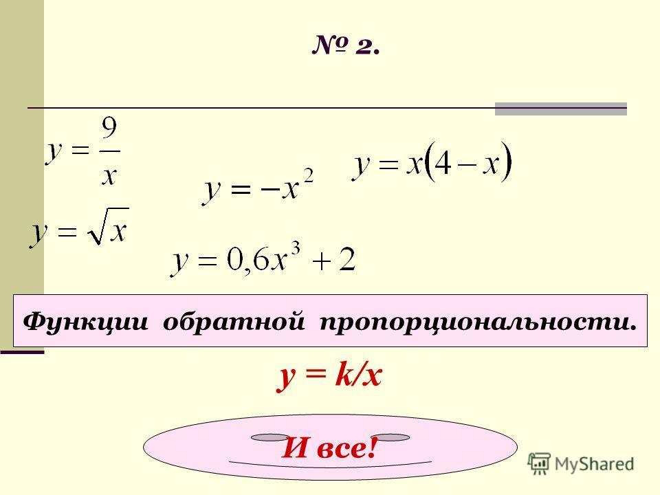 2. Функции прямой пропорциональности. у = kx Правильно!