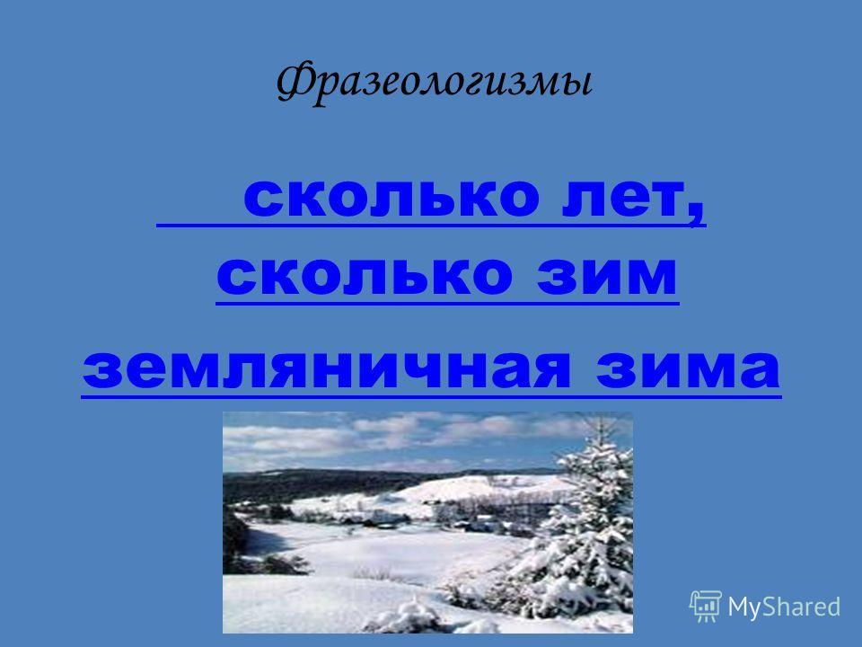 Фразеологизмы сколько лет, сколько зим земляничная зима