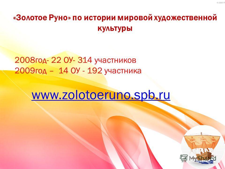 «Золотое Руно» по истории мировой художественной культуры 2008год- 22 ОУ- 314 участников 2009год – 14 ОУ - 192 участника www.zolotoeruno.spb.ru