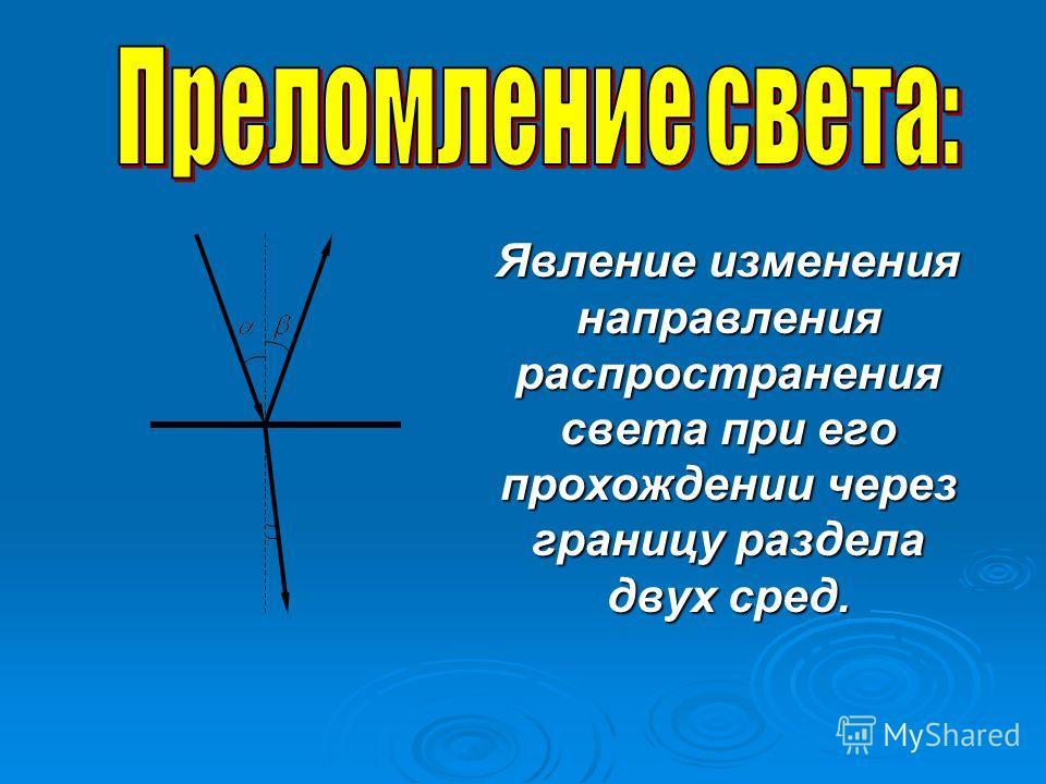 Явление изменения направления распространения света при его прохождении через границу раздела двух сред. Явление изменения направления распространения света при его прохождении через границу раздела двух сред.