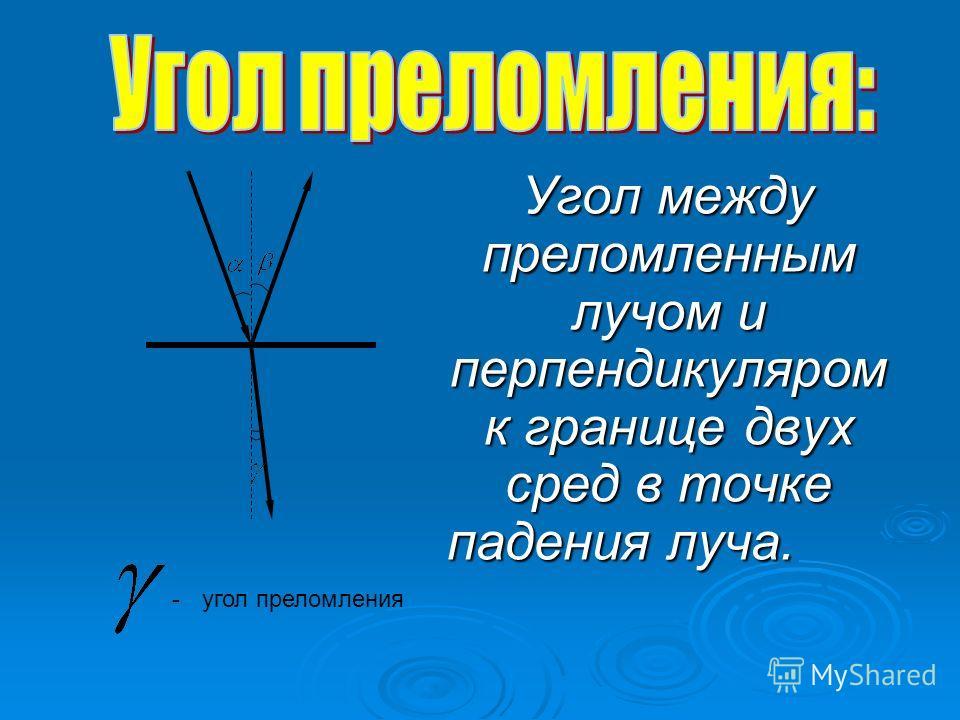 Угол между преломленным лучом и перпендикуляром к границе двух сред в точке падения луча. Угол между преломленным лучом и перпендикуляром к границе двух сред в точке падения луча. -угол преломления