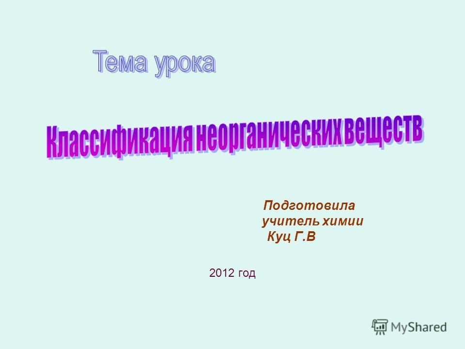 Подготовила учитель химии Куц Г.В 2012 год