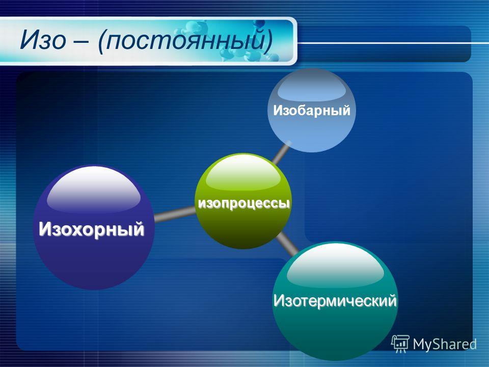 Изо – (постоянный) изопроцессы ИзобарныйИзохорный Изотермический
