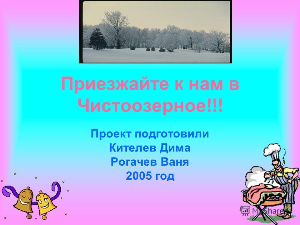 Приезжайте к нам в Чистоозерное!!! Проект подготовили Кителев Дима Рогачев Ваня 2005 год