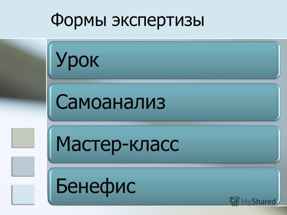 Формы экспертизы УрокСамоанализМастер-классБенефис