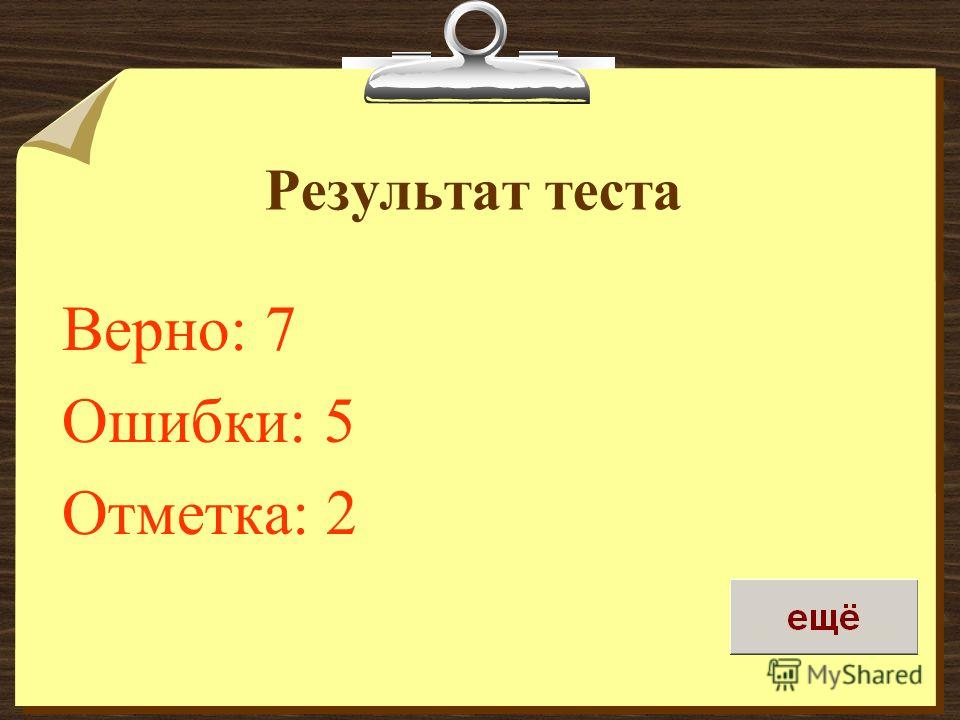 Результат теста Верно: 7 Ошибки: 5 Отметка: 2