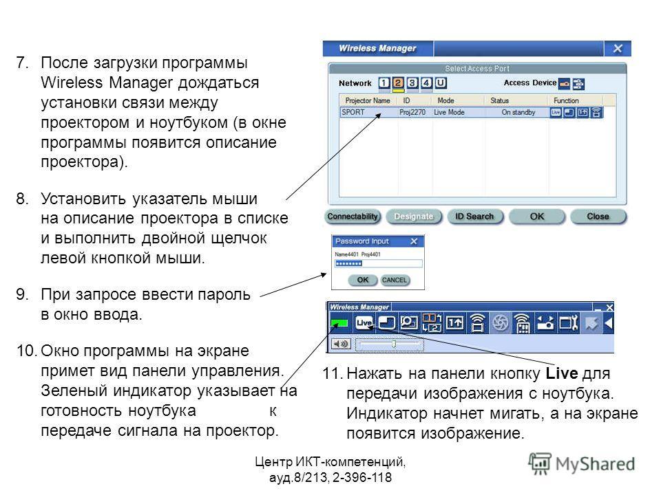 проектором и ноутбуком (в