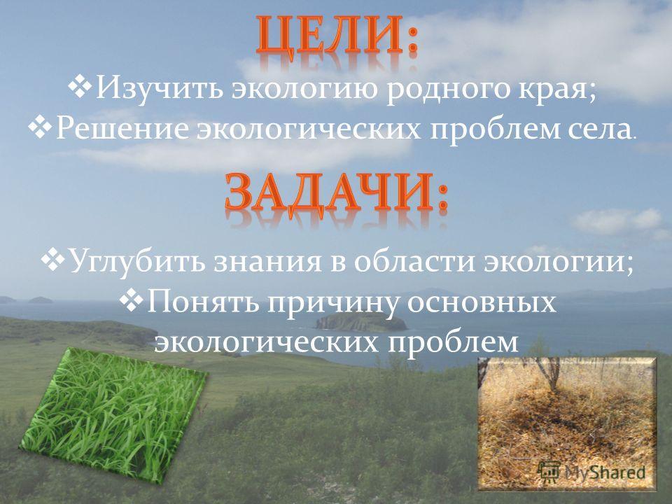 Изучить экологию родного края; Решение экологических проблем села. Углубить знания в области экологии; Понять причину основных экологических проблем
