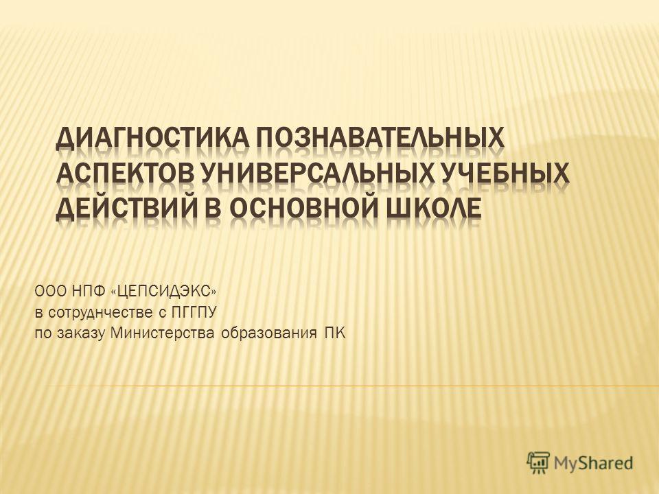 ООО НПФ «ЦЕПСИДЭКС» в сотруднчестве с ПГГПУ по заказу Министерства образования ПК