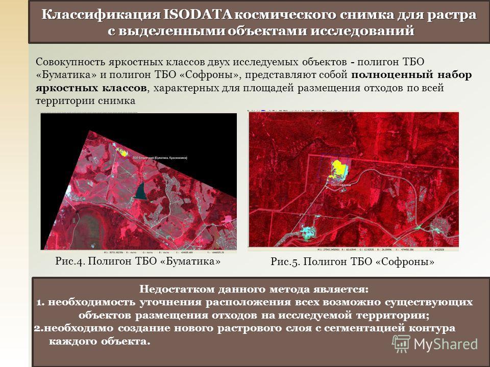 Классификация ISODATA космического снимка для растра с выделенными объектами исследований с выделенными объектами исследований Недостатком данного метода является: 1. необходимость уточнения расположения всех возможно существующих объектов размещения