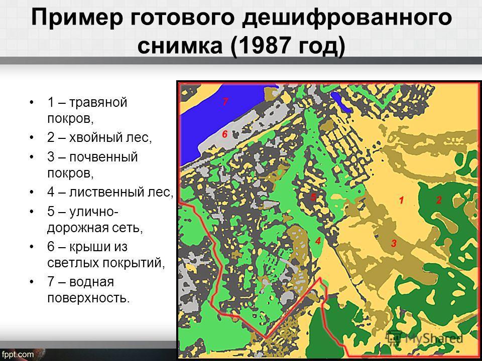 Пример готового дешифрованного снимка (1987 год) 1 – травяной покров, 2 – хвойный лес, 3 – почвенный покров, 4 – лиственный лес, 5 – улично- дорожная сеть, 6 – крыши из светлых покрытий, 7 – водная поверхность.