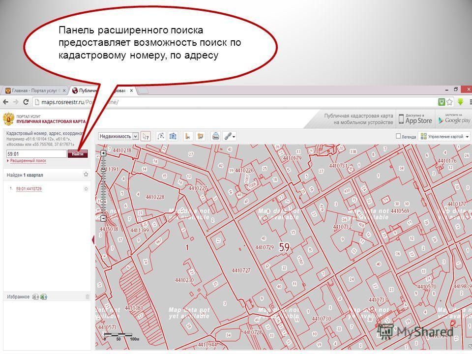 Панель расширенного поиска предоставляет возможность поиск по кадастровому номеру, по адресу