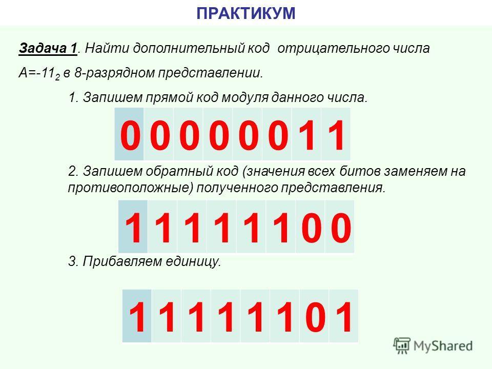 ПРАКТИКУМ Задача 1. Найти дополнительный код отрицательного числа А=-11 2 в 8-разрядном представлении. 1. Запишем прямой код модуля данного числа. 2. Запишем обратный код (значения всех битов заменяем на противоположные) полученного представления. 3.