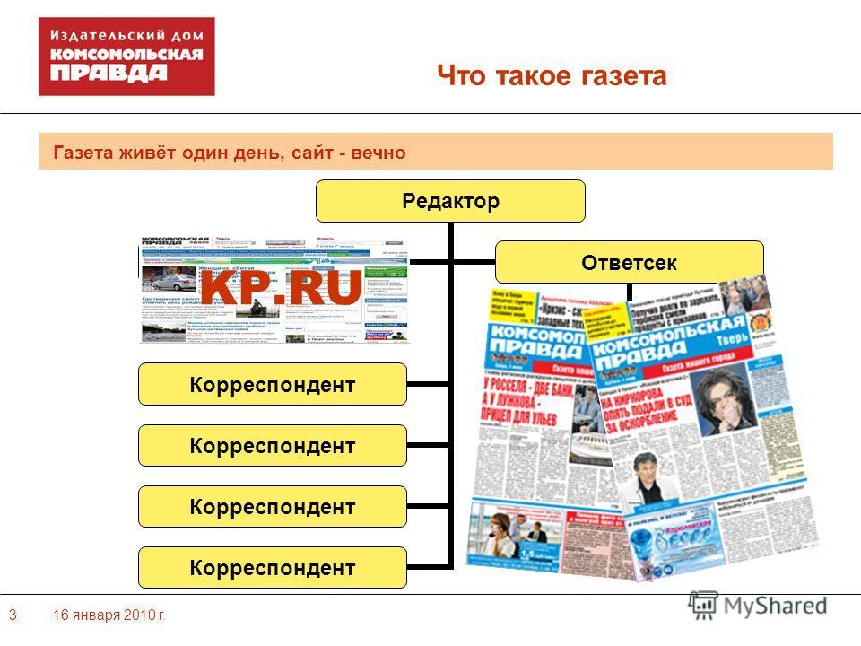 16 января 2010 г.3 Газета живёт один день, сайт - вечно Что такое газета KP.RU