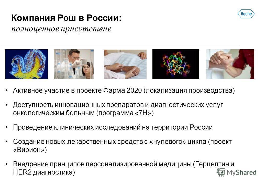 Компания Рош в России: полноценное присутствие Активное участие в проекте Фарма 2020 (локализация производства) Доступность инновационных препаратов и диагностических услуг онкологическим больным (программа «7Н») Проведение клинических исследований н